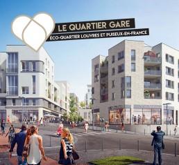 Le quartier gare de l'écoquartier Louvres Puiseux-en-France