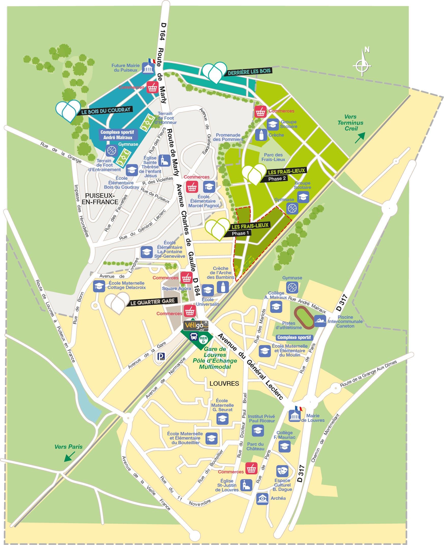 Plan de l'écoquartier Louvres Puiseux