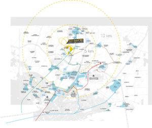 Carte des zones d'activités Louvres Puiseux